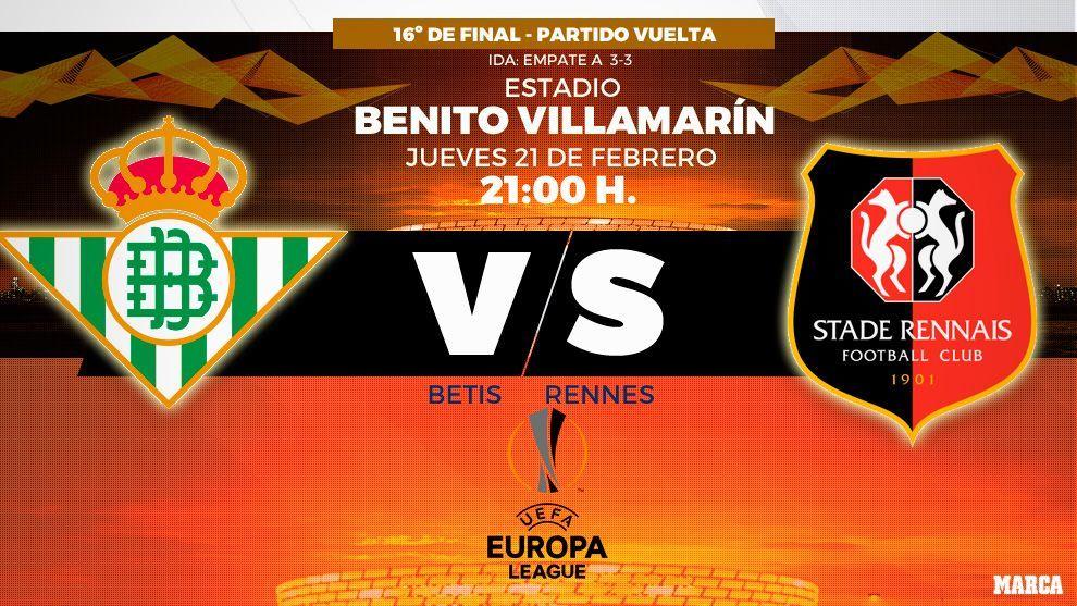 Betis vs Rennes - 21/02/2019 - 21:00 horas - Benito Villamarín