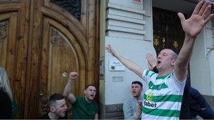 Hinchas del Celtic cantan en las calles de Valencia.