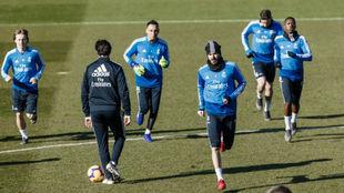 El Madrid, en un entrenamiento en Valdebebas.