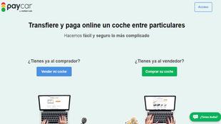 La interfaz de Paycar, donde contactan compradores y vendedores.