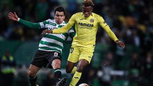 Chukwueze durante el partido ante el Sporting jugado en Lisboa.