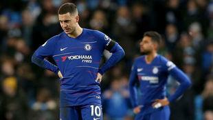 Hazard se lamenta en un partido del Chelsea de la presente temporada.