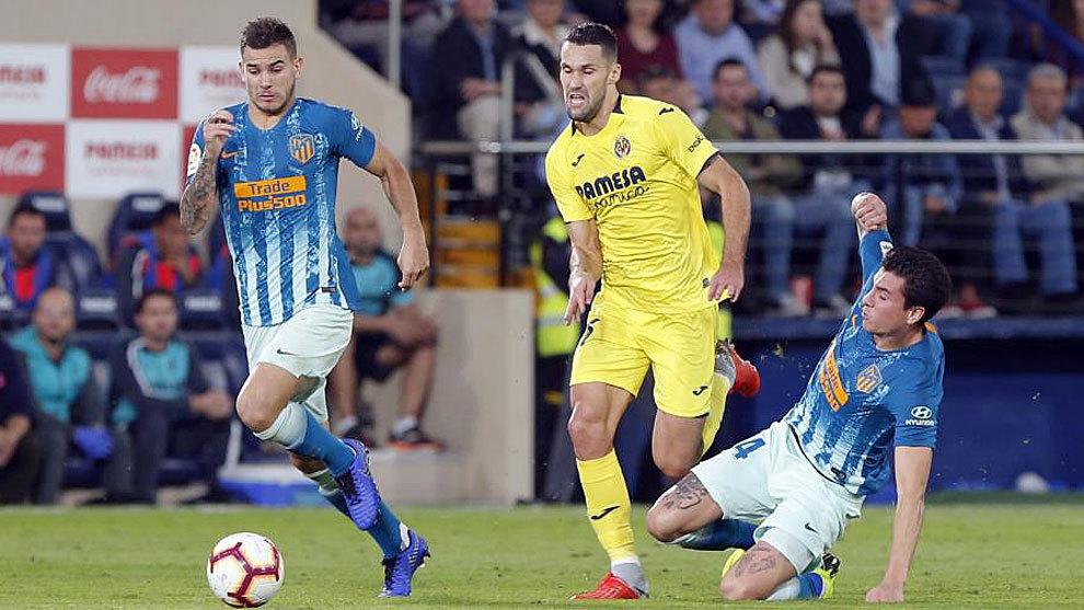 Pedraza durante un partido ante el Atlético en el estadio de La...