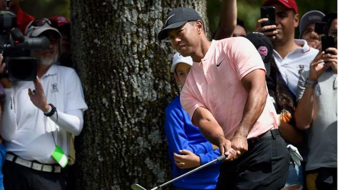Espectacular golpe de Tiger Woods para sacar la bola del bunker con un  árbol delante d28ed851157
