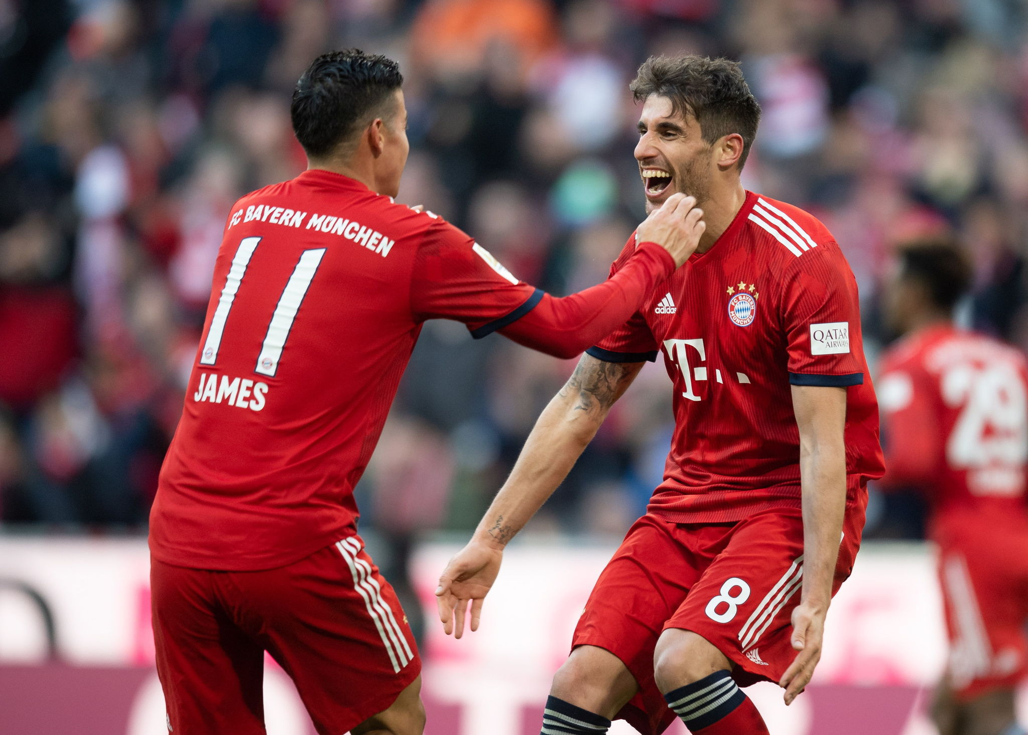 Munich (Germany), 23/02/2019.- Javi Martinez of Munich (R) celebrates with <HIT>James</HIT> Rodriguez of Munich after scoring the 0-1 goal during the German Bundesliga soccer match between FC Bayern Munich and Hertha BSC Berlin in Munich, Germany, 23 February 2019. (Alemania) EFE/EPA/DANIEL KOPATSCH CONDITIONS - ATTENTION: The DFL regulations prohibit any use of photographs as image sequences and/or quasi-video