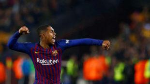 Malcom celebra su gol en el Clásico.