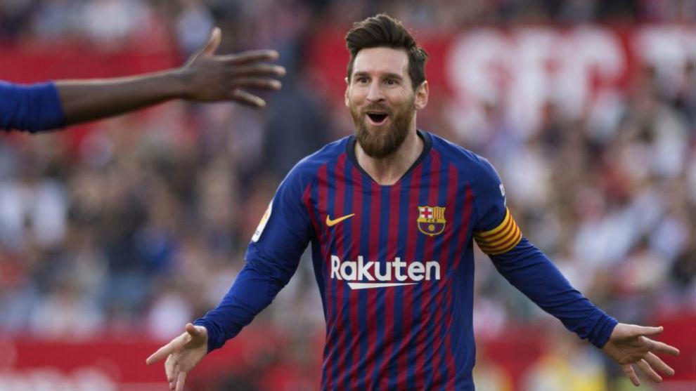 Leo Messi celebra un gol.