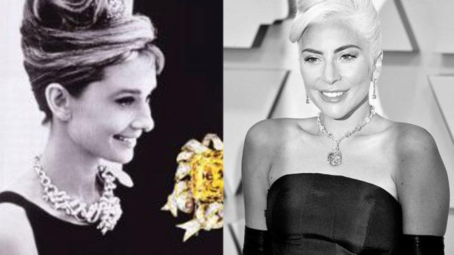 df5cda83a747 Oscars 2019  Lady gaga con el collar que llevó Audrey Hepburn
