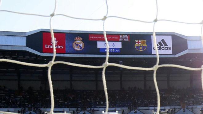 Marcador del último Clásico liguero en el Bernabéu.