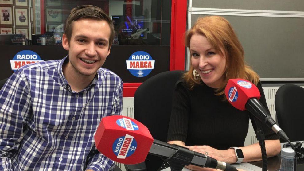 Gloria Lomana durante su visita en Radio MARCA
