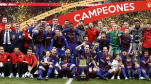 El Barcelona celebra su último título de Copa del Rey.