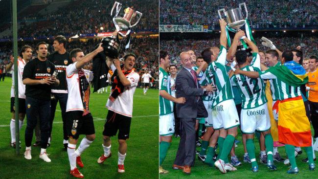 Valencia y Betis, celebrando las Copas de 2008 y 2005