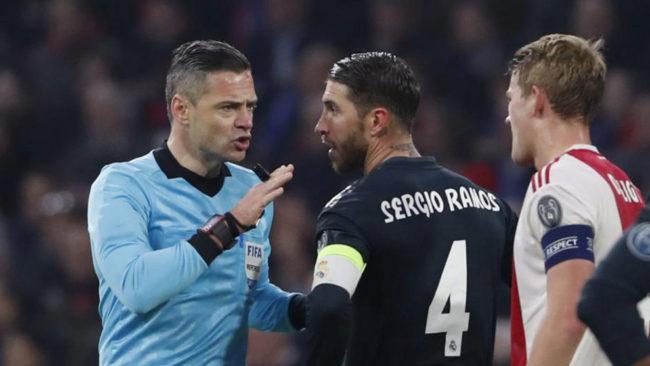 Ramos en el partido contra el Ajax
