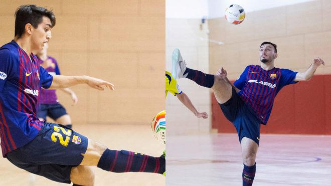 Povill y Juanjo Caro, en partidos con el Barça Lassa B.