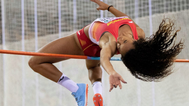 María Vicente, durante la competición de altura