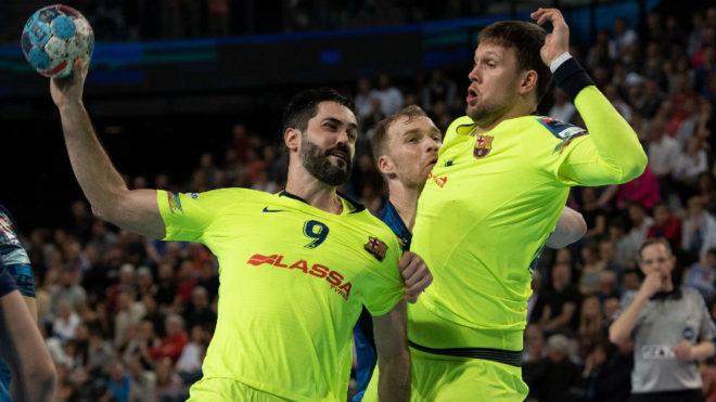 Raúl Entrerríos y Syrpzak en el último partido de la Champions ante...
