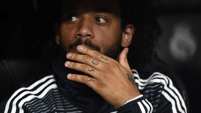 Marcelo, en el banquillo ante el Barcelona.