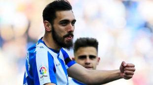 Borja Iglesias celebra su gol contra el Valladolid.