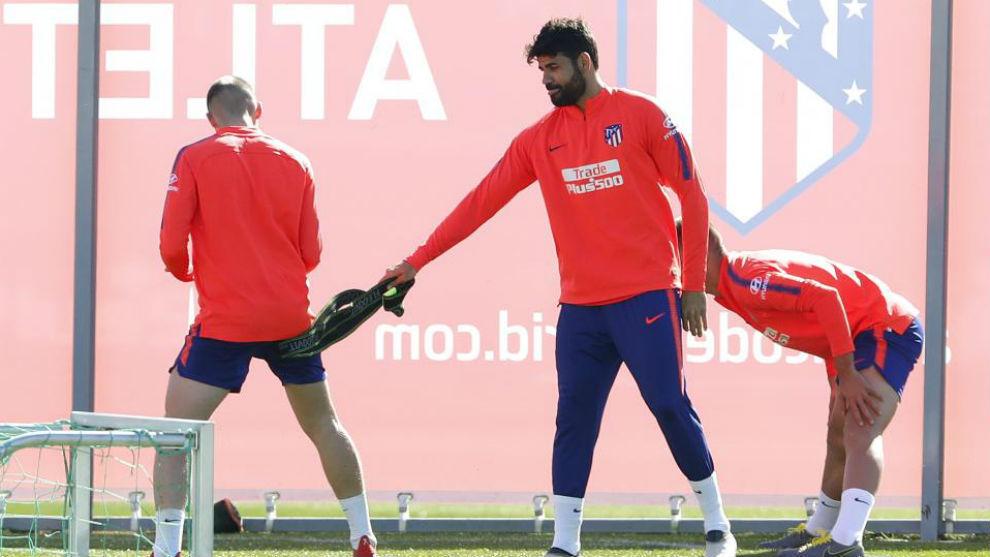 Diego Costa durante un entrenamiento del Atlético de Madrid.