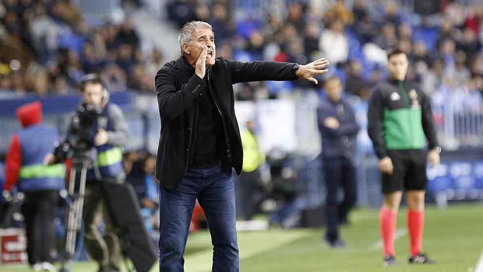 Paco Herrera da instrucciones a sus jugadores en La Rosaleda.