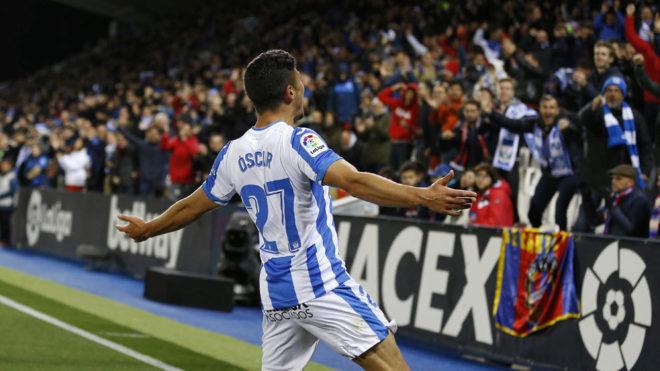 Óscar celebra el gol de la victoria del Leganés.