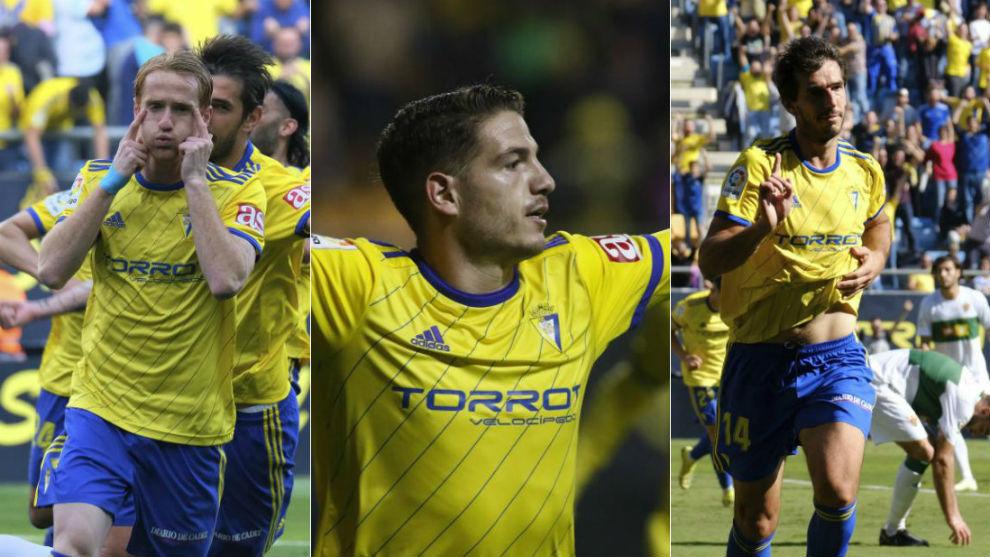 Álex, Vallejo y Lekic, los tres máximos goleadores del equipo