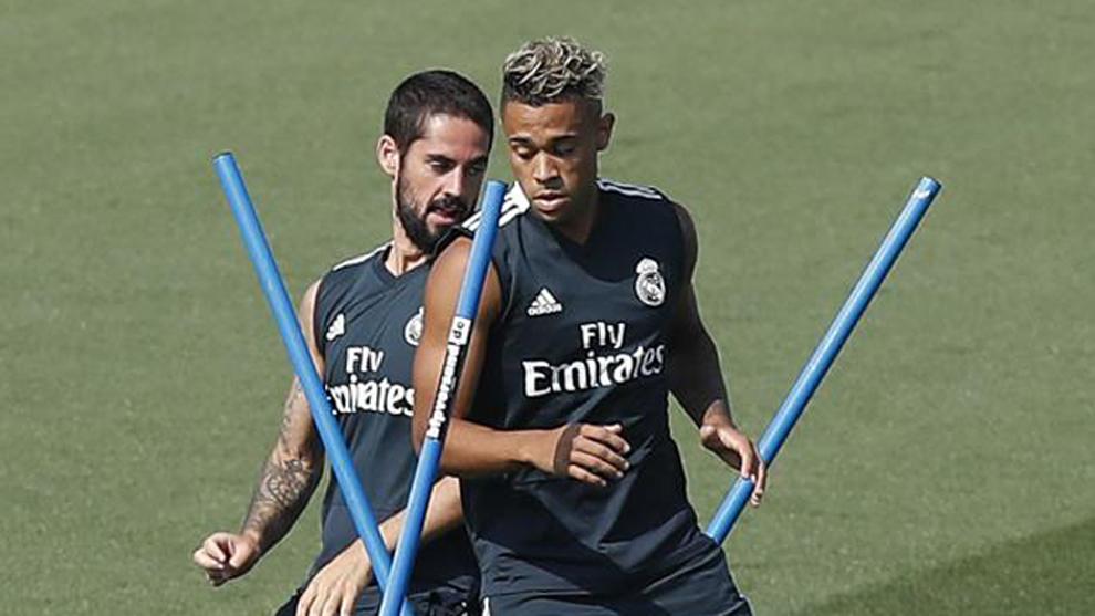 Isco y Mariano, en un entrenamiento