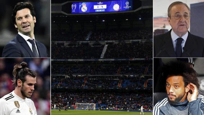 Solari, Florentino Bale, Marcelo y el Bernabéu en el partido contra...