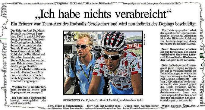 """""""No administré nada"""", dijo Schmidt en 2009 al ser acusado del dopaje..."""