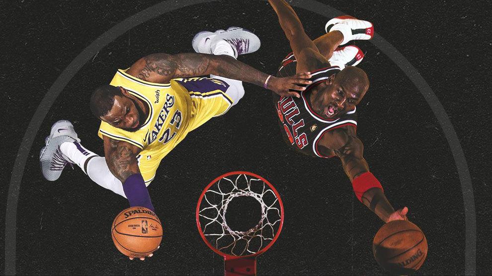 Montaje con LeBron y Jordan anotando sendas canastas