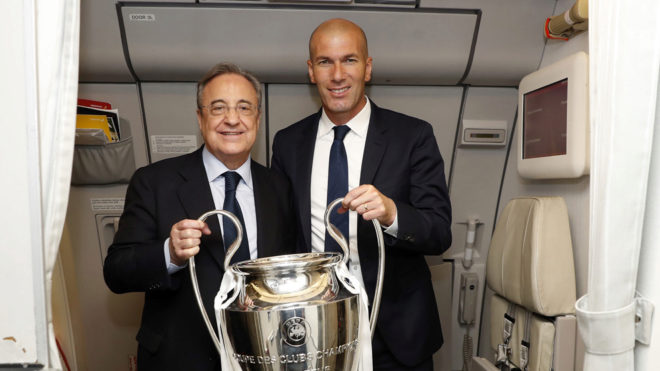Zinedine Zidane and Florentino Perez after the Champions League...