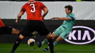 Monreal, en el choque ante el Rennes.