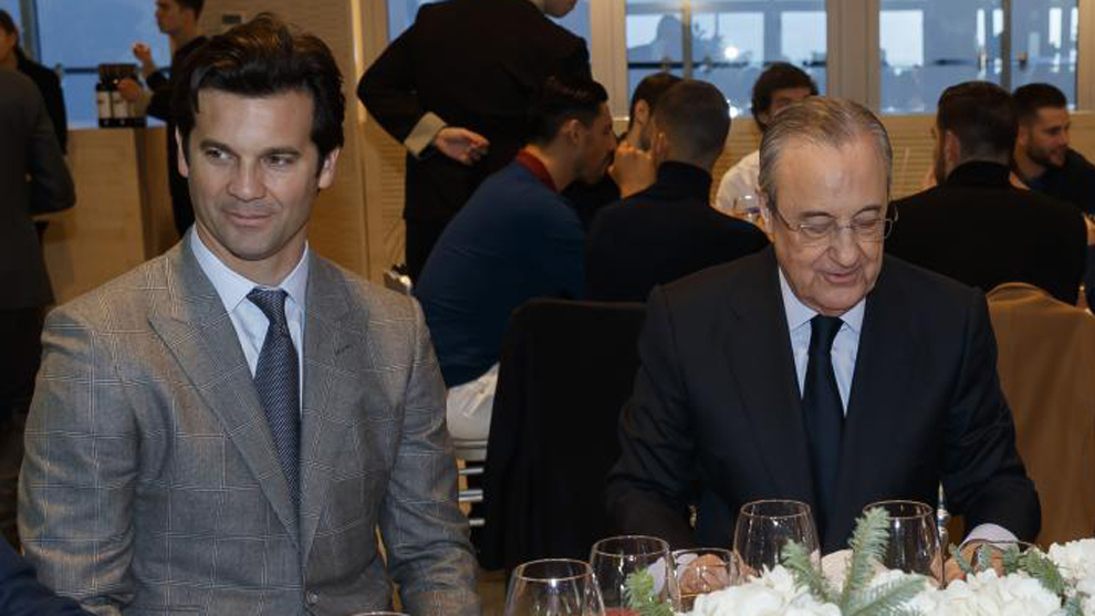Solari and Florentino at Real Madrid's Christmas dinner.