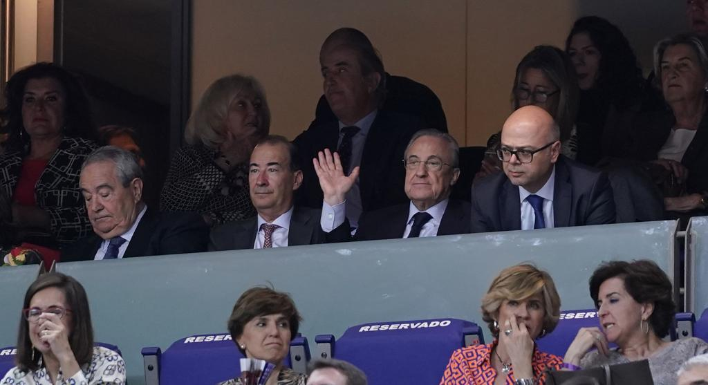 Florentino Perez watching Real Madrid's basketball team on Thursday night.