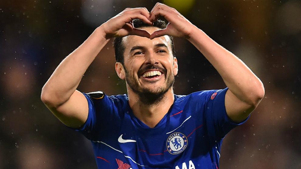 Pedro celebra su gol al Dinamo Kiev