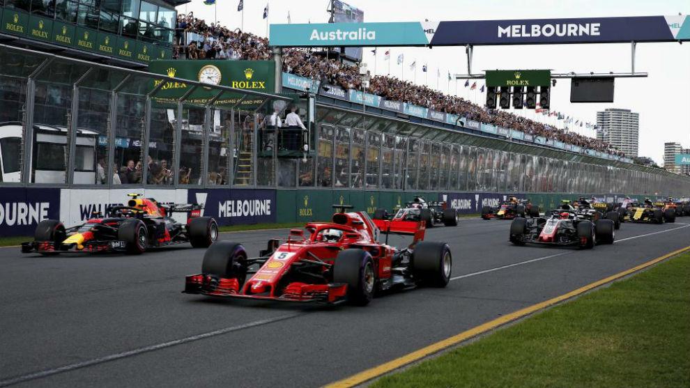 La salida del GP de Australia 2018.