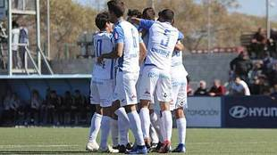 Los jugadores blanquiazules, celebrando un gol  esta temporada