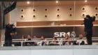 Sergio Ramos, durante el partido de vuelta contra el Ajax, en un palco...