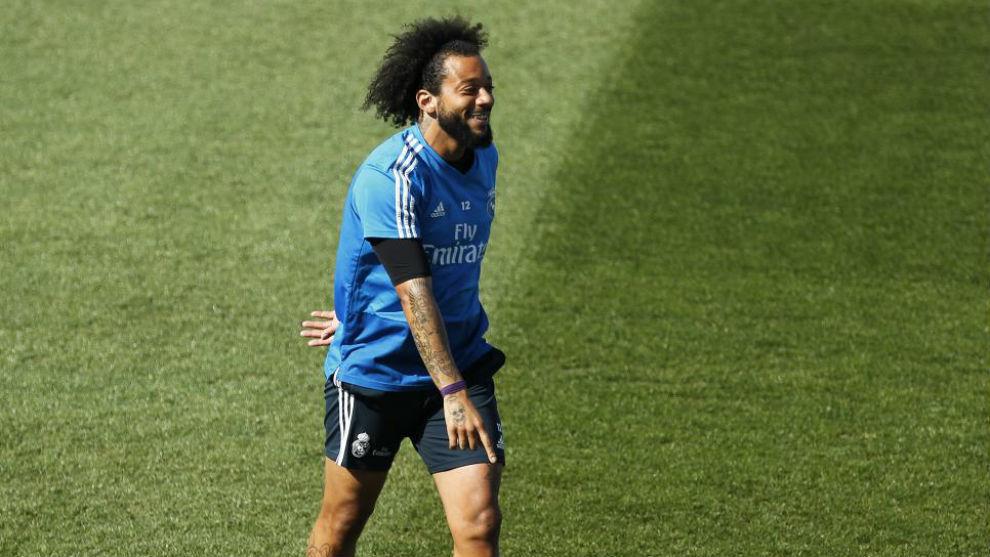 Marcelo, durante el entrenamiento previo al choque ante el Valladolid
