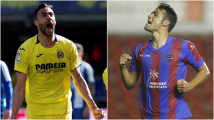 Vicente Iborra celebra un gol con el Villarreal y con el Levante.