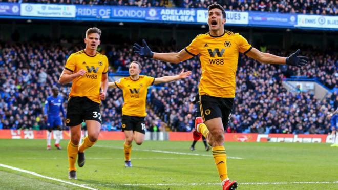 Así celebró Jiménez su 12vo tanto en la Premier League.