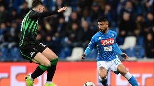 Insigne, durante el partido contra el Sassuolo