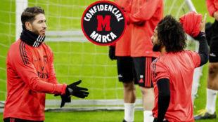 Sergio Ramos y Marcelo, en un entrenamiento de esta temporada