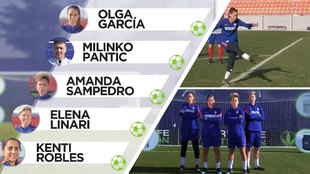 Cuatro jugadoras del Atlético Femenino se retan con Pantic  ¿quién tiene  mejor puntería  2cf4ef6bfeb0e