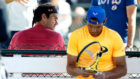 Federer y Nadal, en un entrenamiento en Indian Wells