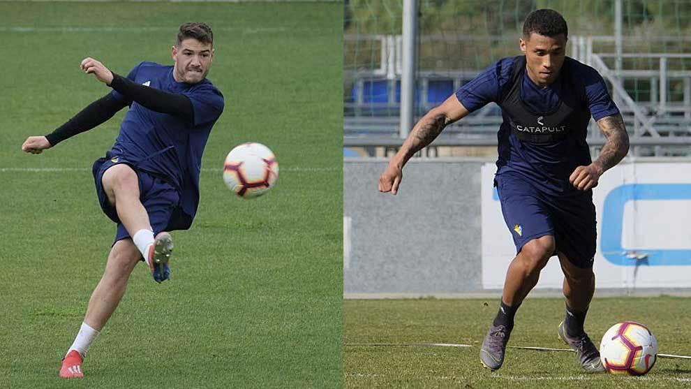 Manu Vallejo y Darwin Machís, en sendos entrenamientos del Cádiz