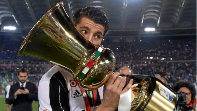 Morata celebra un título de Copa con la Juve