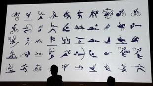 Los pictogramas presentados este martes en Tokio.