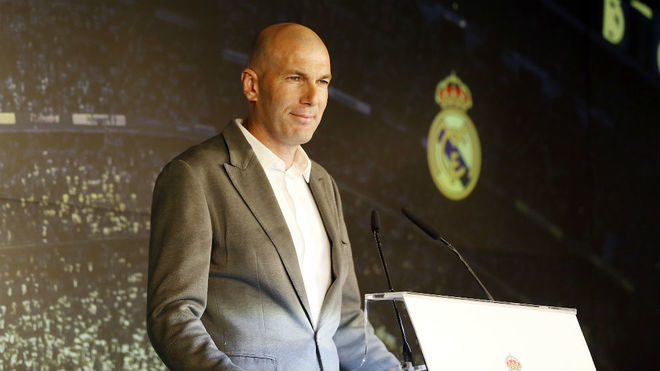 Zinedine Zidane during his presentation on Monday