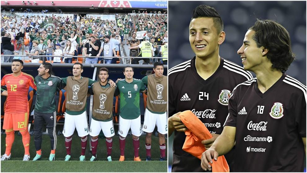 El banquillo de la selección mexicana en el Mundial. / Roberto...